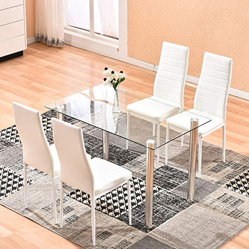 Dining Table with Chairs,4HOMART 5 PCS Glass Dining Kitchen Table Set Modern Tempered Glass Top Table and PU Leather Chairs with 4 Chairs Dining Room Furniture Beige