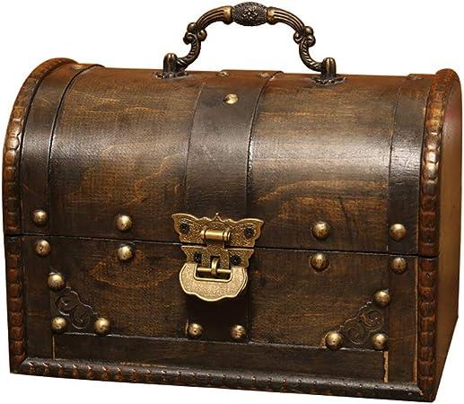 GWW Rústico Cajas Decorativas,Madera Caja Joyero con Cerradura,Vintage Soporte De La Joyería Caja Decorativa para Collares Pulseras Pendientes Anillos A 21.5 * 14.5 * 15cm: Amazon.es: Hogar