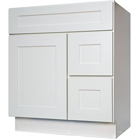 Everyday Cabinets 30 Inch Bathroom Vanity Single Sink Cabinet In White  Shaker With Soft Close Doors