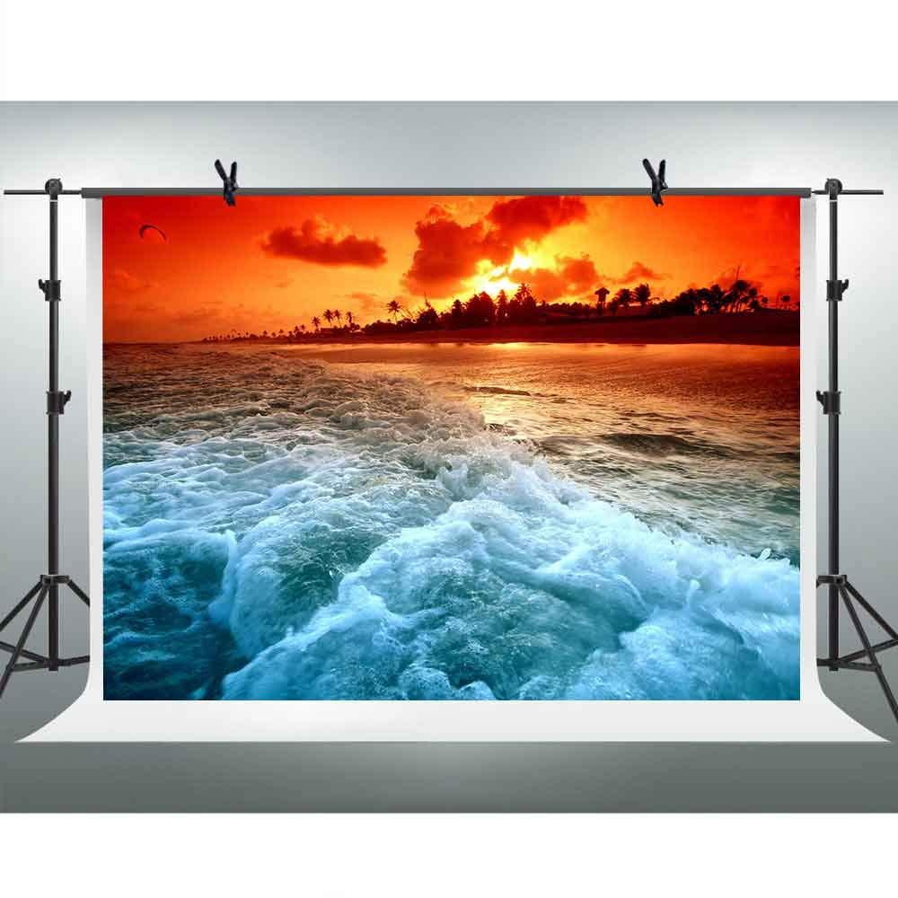 FHZON 10x7フィート 海の波 写真撮影 背景 サンセット 赤空 雲 自然 風景 背景 旅行 テーマ パーティー 写真ブース ビデオ スタジオ小道具 PFH567   B07GCBVNS2