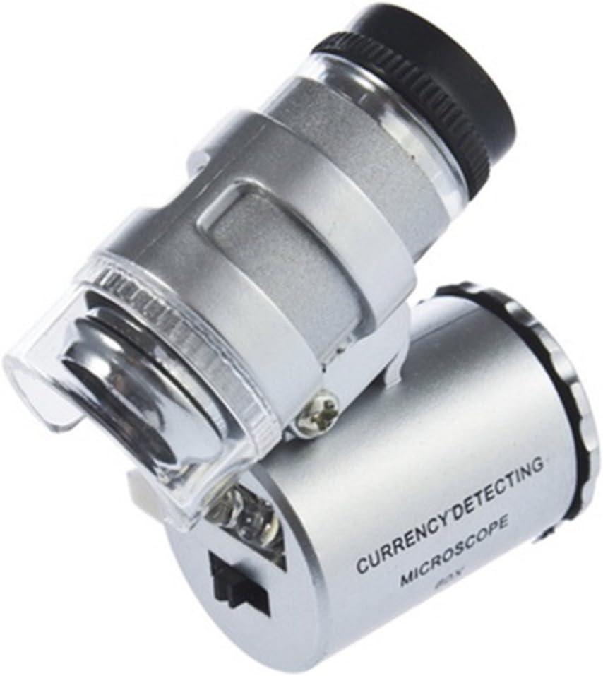 Yks 60X zumbido LED lente micro del microscopio nueva plata