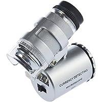 Chianrliu Mini Mikroskop 60x LED Taschenmikroskop Juwelier Vergroesserungsglas Einstellbare Lupe