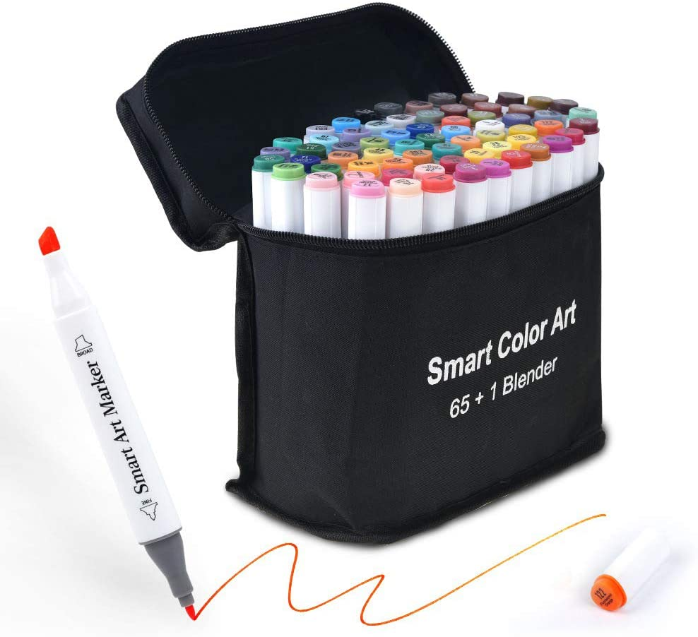 Art Markers, 65 Coloring Markers and 1 Blender, 66 Pack Alcohol Based Dual Tip Permanent Markers Highlighters with Case, Excellent for Adults Kids Coloring Marking Drawing Sketching by Smart Color Art