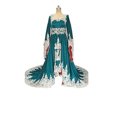 Banfvting Medieval Formal Dress Evening Wear Pagoda Sleeves Beaded ...