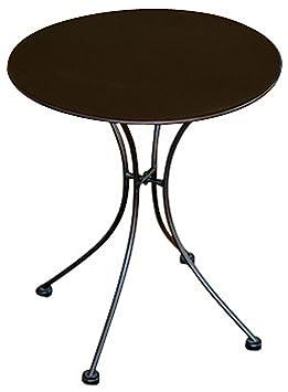 PEGANE Table Rond de Jardin en Fer forgé Coloris Noir - Dim ...