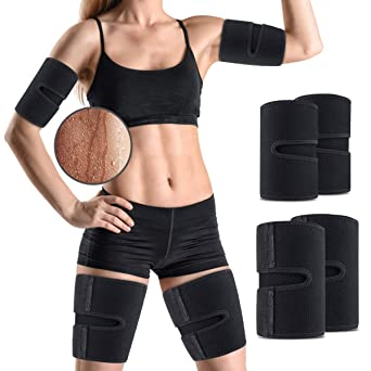 Amazon Com Outerdo Arm And Thigh Trimmers For Women Men 4 Piece Kit Body Exercise Wraps Adjustable To Lose Fat Reduce Cellulite And Improve Sweating Slimmer Kit Toned Muscles Natural Fat Burning Industrial