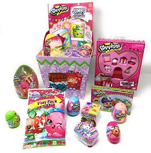 Shopkins Themed Complete Filled Easter Basket Bucket 14 Piece Bundle