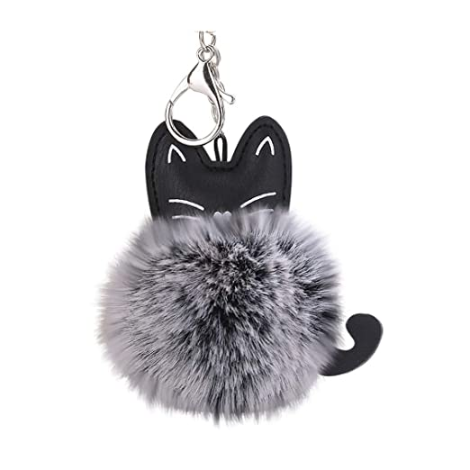 Amazon com: Kaniem Lovely Key Chain,Cute Kitty Ball Pom Pom