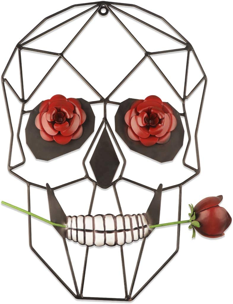 Metal Skull Wall Decor Sculpture,14inch Humorous Skull Rose Wall Art Hanging for Bathroom, Bedroom, Living Room,Study Room,Corridor,Home Decor, Hipy Art for Valentine's Day Decorations