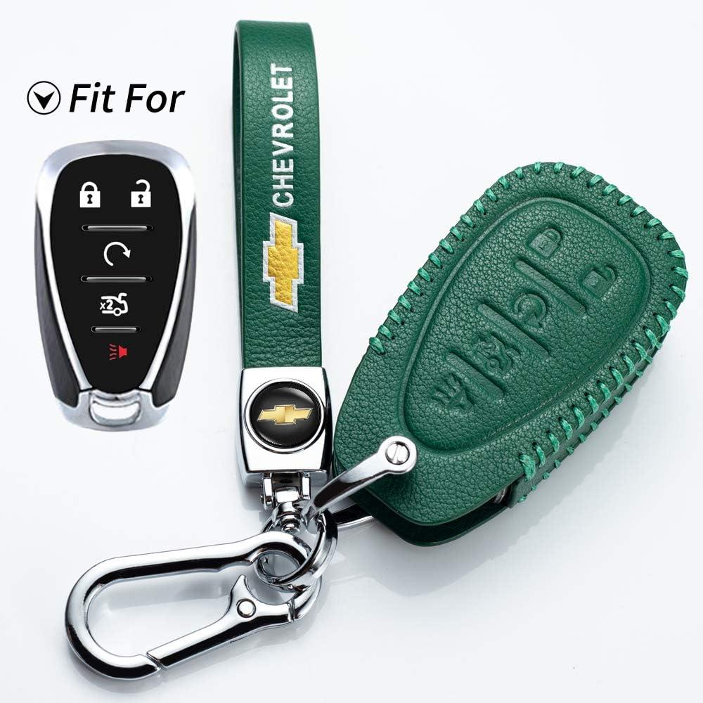 Leather Car Key Fod Cover Case Protector Keyless for Chevrolet Cruze Camaro 2020 2019 2018 2017 2016 Malibu Traverse Volt Bolt Remote Keyless Entry key holder