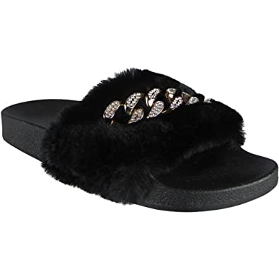 1910971fe778 shelikes Womens Comfy Faux Fur Diamante Chain Flipflop Slippers UK3 Black