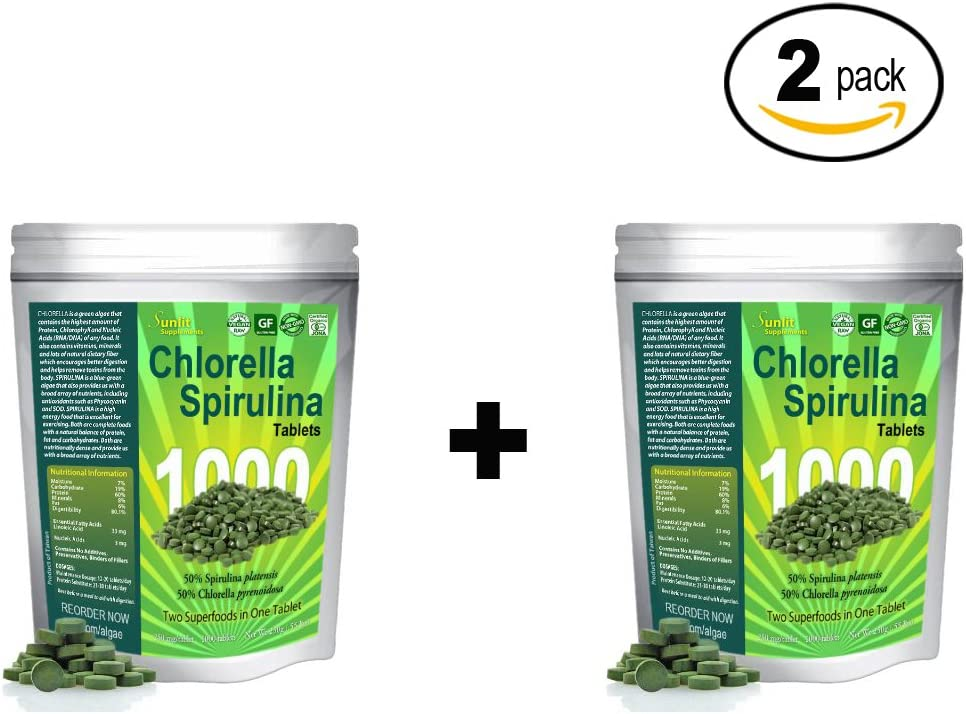 Chlorella Spirulina 50 50 Mega-Pack 1000 Cracked Cell Wall, 100 Pure Clean, Organic Raw Non-GMO Green Superfood, Protien Packed, by Sunlit, Best Green Organics 2 Pack