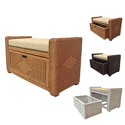 Rattan Chest Storage Ottoman Model Eva With Drawer And Cushion (Light Brown)