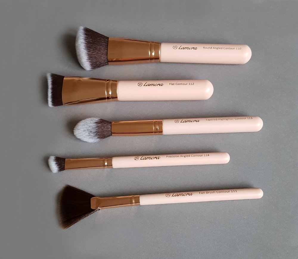 Pro Face Contour Brush Set - Synthetic Contouring Sculpting and Highlighting Kit - Cream Blush Powder Flat Nose Cheek Round Small Angled Fan Tapered Precision Kabuki Foundation Makeup Brushes