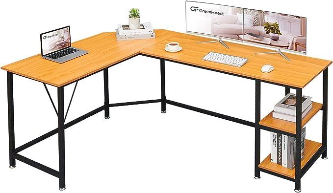 GreenForest L Shaped Desk 65.7x47 inch Large Size Corner Computer Desk with Storage Shelf Pc Workstation for Home Office Saving Space Writing Study Desk, Oak   Amazon