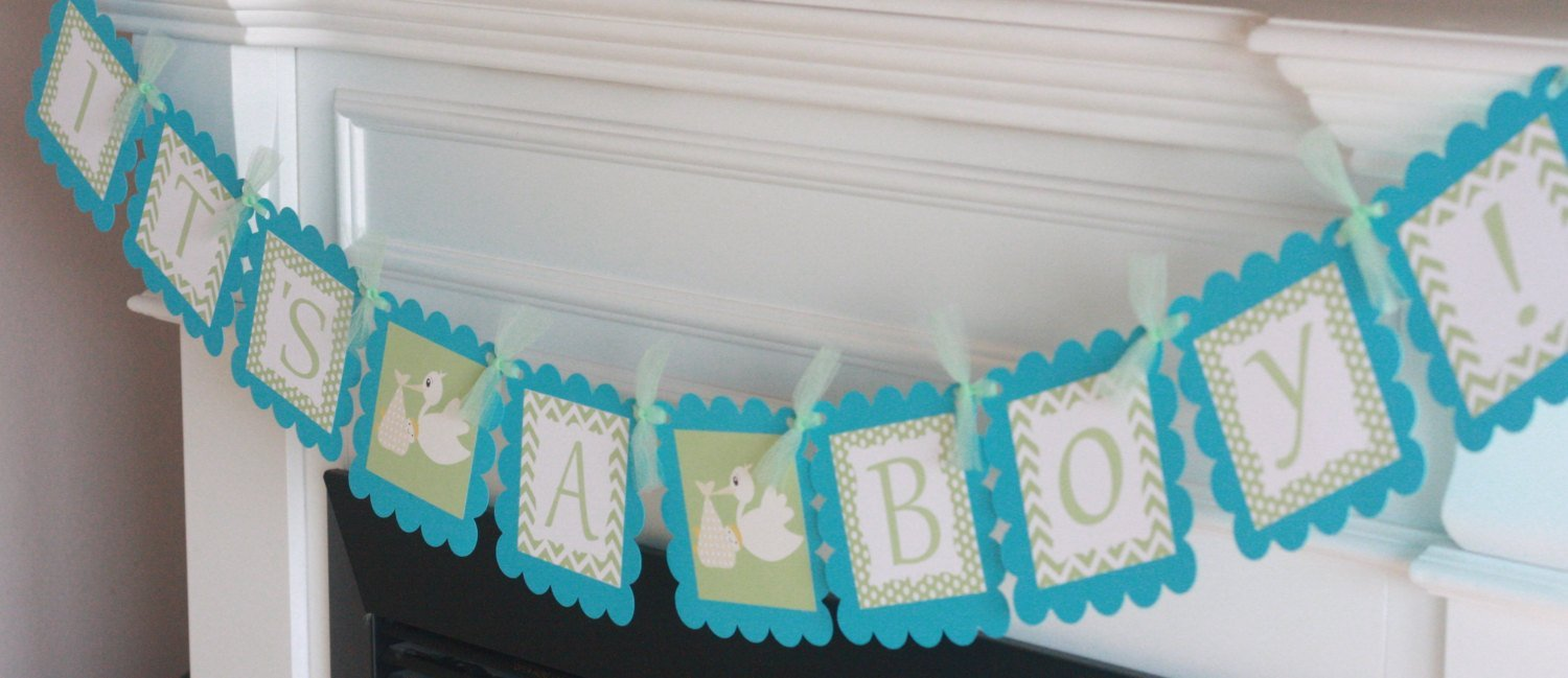 Mint Green /& Turquoise or Grey /& Turquoise Chevron Stork Chevron Theme Shower Cupcake Toppers Favor Tags 12 Banners Party Packages Door Signs Available