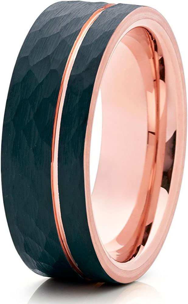 Silly Kings Rose Gold Tungsten Ring,Rose Gold Tungsten Wedding Band,Black Tungsten Ring,Hammered Ring,8mm