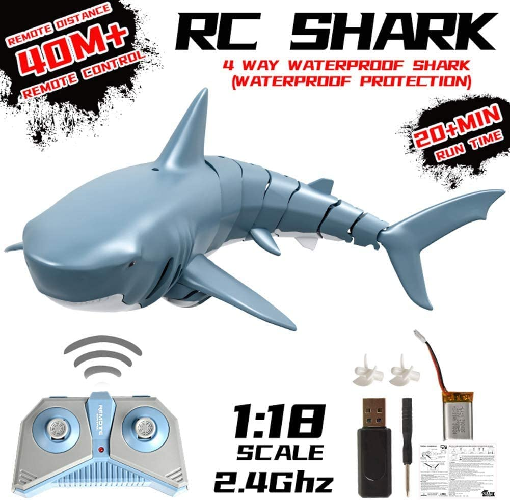 MINIGO Newest Remote Control Shark Boat,USB Charging,2.4G RC Electric Racing Boat,Suitable for Beach Toys, Swimming Pools, and Lake Toys in Summer,RC Boat for Adults and Kids.Kids Toy Gifts