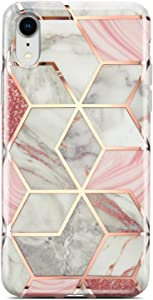 Coolwee for iPhone XR Case Marble Slim Fit Bling Glitter Sparkle Case Foil Stripe 10R Thin Cute Design Glossy Finish Soft TPU Bumper Girls Women Protective Cover for Apple iPhone XR 6.1 inch Rose Gold