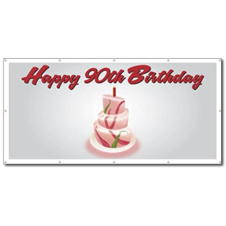 VictoryStore Yard Sign Outdoor Lawn Decorations Happy 90th Birthday Cake
