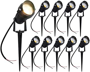 Pack de 10 Foco Jardin LED con Pincho COB 5W 220V Blanco Cálido Luz LED para Exteriores: Amazon.es: Iluminación