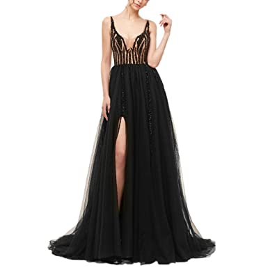 LeoGirl Womens Pretty Beaded Illusion Bodice Long Prom Dresses with Slit Sexy Sleeveless Formal Evening Gown