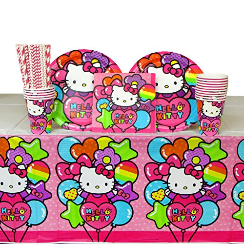Hello Kitty Birthday Party Supplies Pack for 16 Guests Includes: Straws, 16 Dinner Plates, 16 Luncheon Napkins, 16 Cups, and Table Cover | Have The Best Hello Kitty Party With -