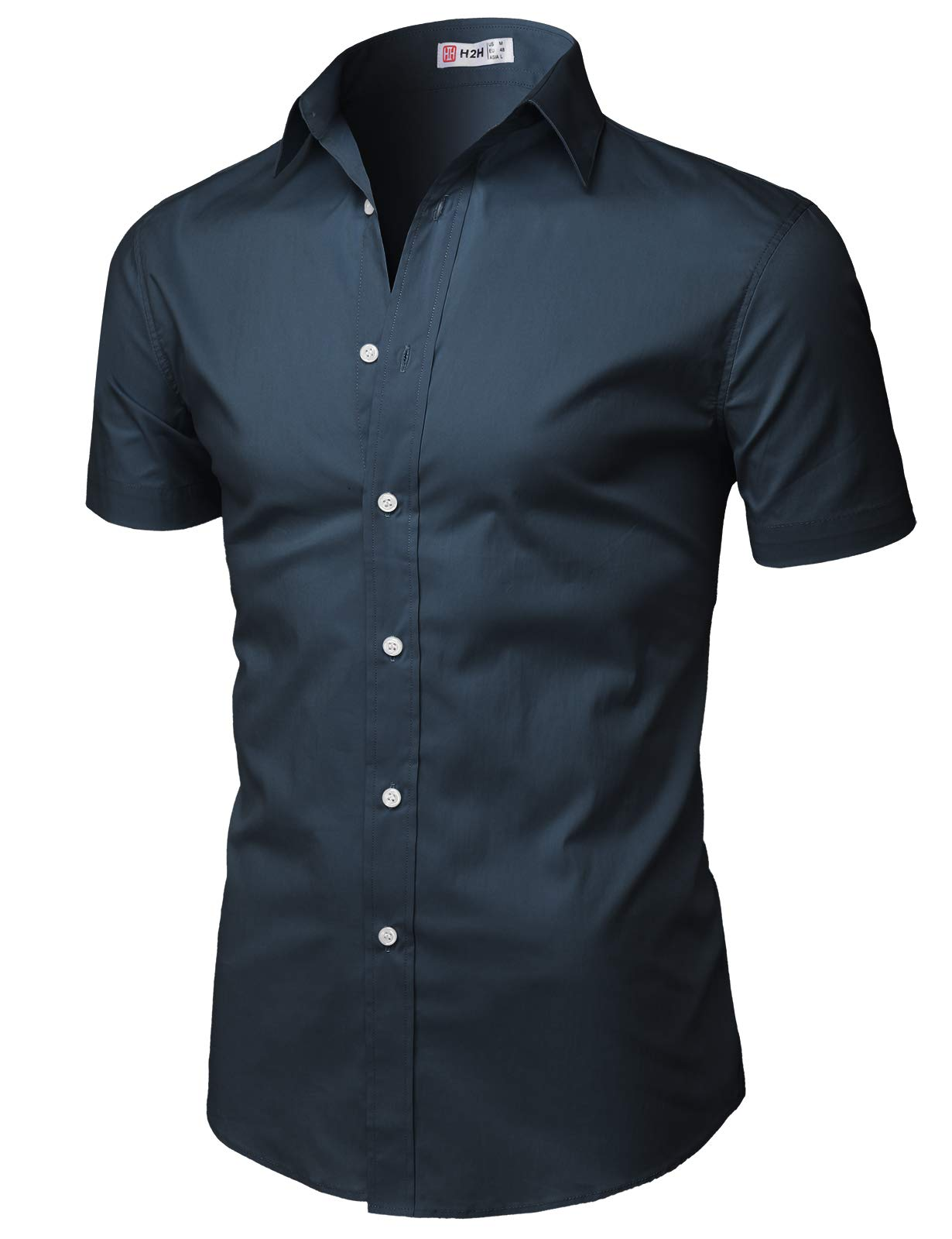 H2H Mens Casual Button Down Short Sleeve Shirts Basic Designed NAVY US M/Asia L (KMTSTS0134)