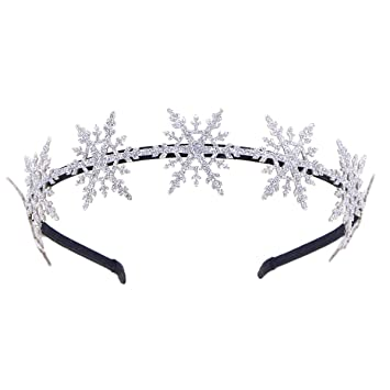 Amazon.com   Shiny Snowflake Headband Elegance Glitter Party Hair Hoops for  Women Girls (Silver)   Beauty dd9c24fac71