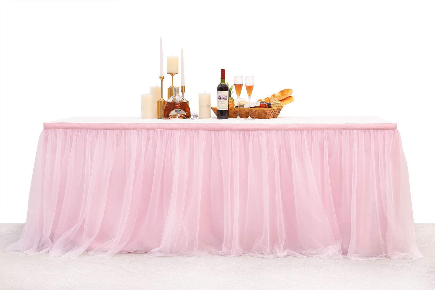 Table Skirts 3Yard 9FT High-End Gold Brim Anti-Wrinkle Pink Tulle Tutu Tablecloth Long or Round Table Festival Decoration for Wedding, Baby Show, Birthday Party, Home Party. (Pink, 9FT)