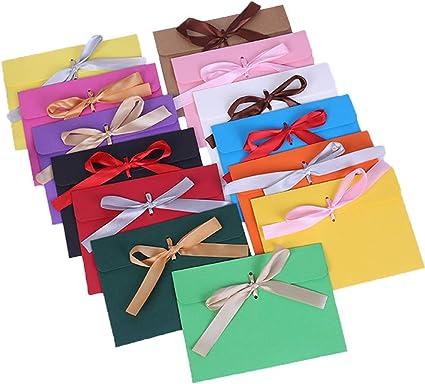 invitaciones tarjetas de felicitaci/ón Sobres kraft apto para tarjetas de Navidad y tarjetas de Acci/ón de Gracias un juego de dos bolsas de dulces sobres cintas retro