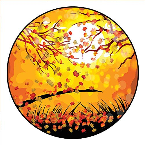 Hua Wu Chou Round Exercise matround BBQ Grill mat D3'/0.9m Hello Autumn Fall Under The Moonlight