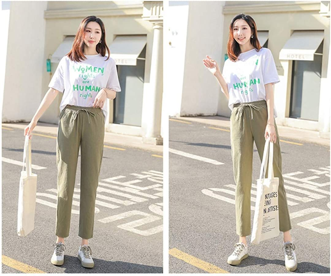 Gphui Women's Cozy Cotton Casual Trousers Solid Color Straight Tapered Cropped Harem Pants Spring Loose Thin Bottoms Gray Green