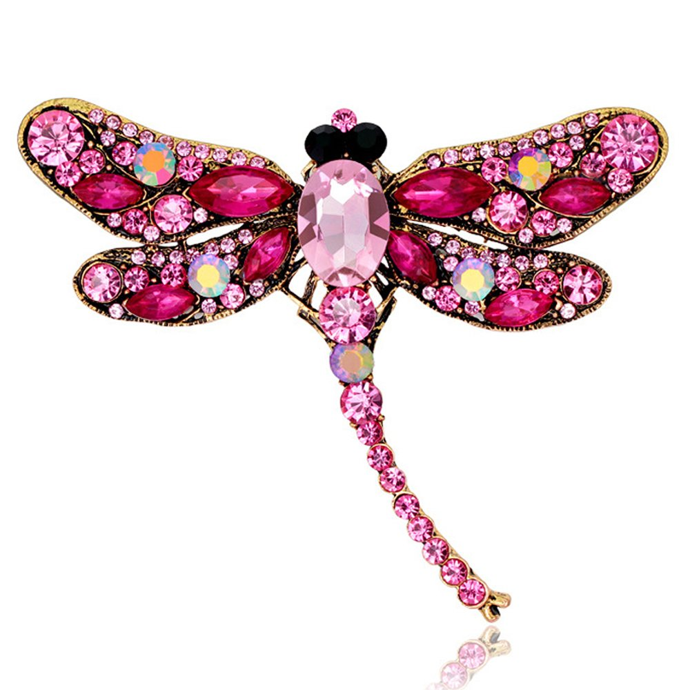AOCHEE Multi-Colors Wing Dragonfly Brooch Pin Austrian Crystal Rhinestone Dragonfly Necklace Jewelry (Pink)