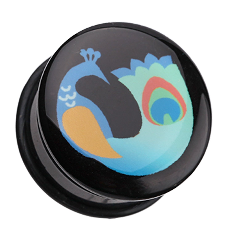Sold as a Pair Vibrant Peacock Single Flared Ear Gauge Plug