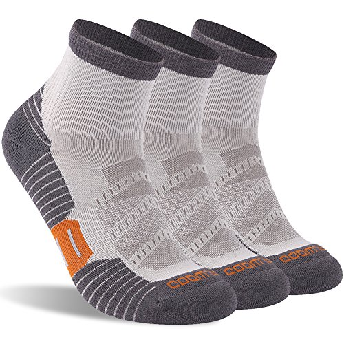 Running Socks Women, ZEALWOOD Womens Antibacterial Wicking Athletic Quarter / Ankle Running Hiking Athletic Socks Tennis Socks,Outdoor Athletic Socks 3 Pairs-Grey 2 (Womens Socks Outdoor Quarter)