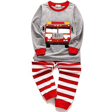 569e3f2a34 Little Hand Jungen Zweiteiliger Schlafanzug Baumwolle Lange Nachtwäsche  Kinder Pyjama- Gr. 110(Herstellergröße