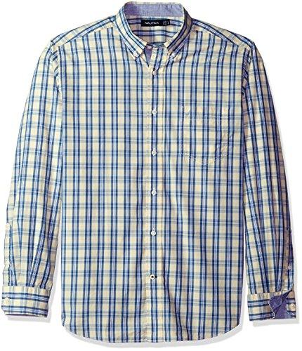 Nautica Mens Long Sleeve White Ground Plaid Button Down Shirt