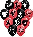 "Gypsy Jade's Ninja Master Party Balloons - 12"" Large Red and Black Latex Balloons for Ninja Themed Parties!"