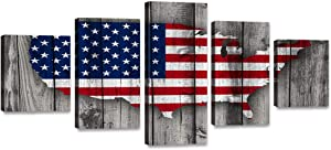 "5 Panels Wooden American Flag Map Canvas Red White Wall Art Patriotic USA Flag Painting Artwork Print Poster for Living Room Bedroom Office Home Decor Stretched Framed Ready to Hang (60""Wx32""H)"