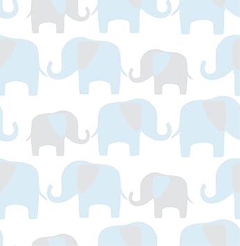 Amazon Com Wall Pops Nu1404 Blue Elephant Parade Peel And Stick Wallpaper Home Improvement