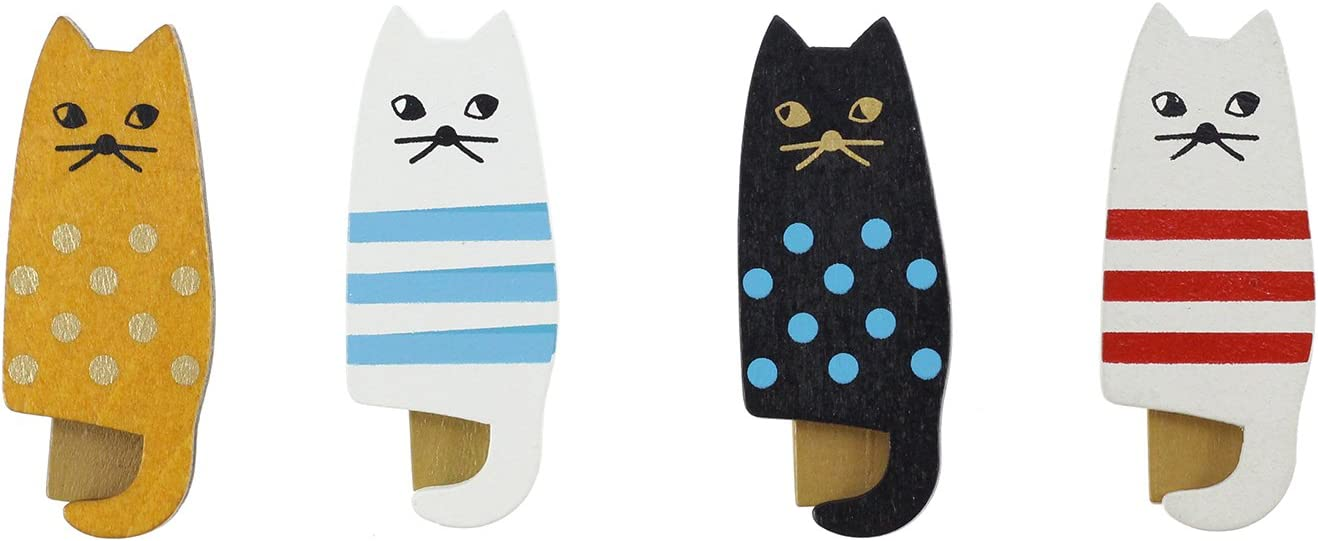 BeeChamp 4pcs Assorted Color Mini Wooden Cute Cat Clothespin Clips Food Storage Bag Seal Clamp, Pack of 4