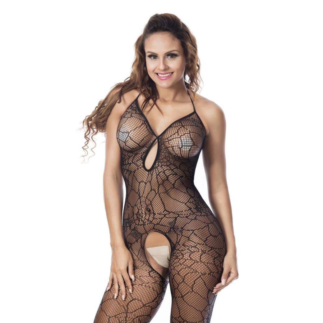 6f0a98a42 Amazon.com  Sexy Womens Crotchless Mesh Halter Lingerie Open Crotch  Babydoll Spider Web Bodystocking Underwear Sleepwear (Black)  Clothing