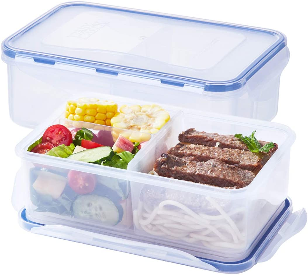LEXINGWARE Meal Prep Container (38.8oz) - Portion Control - BPA Free - 100% Leak-proof Reusable Food Container - Bento Lunch Box - Configurable Compartments (2Pack)