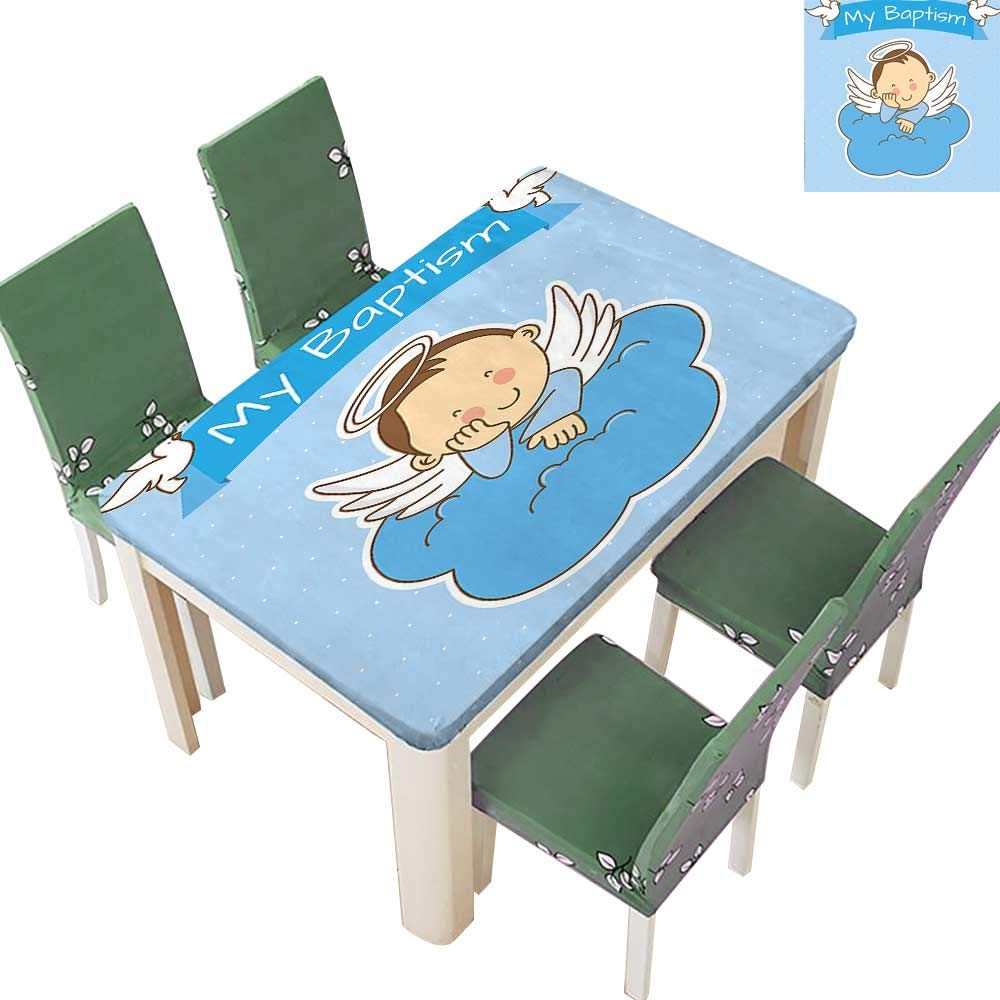 Printsonne Decorative Tablecloth My Baptism Sign Baby Anniversary Birthday Arrival Bird Fowl Animal Image Blue Assorted Size 54 x 120 Inch (Elastic Edge)