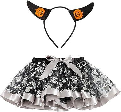 BBSMLIN Disfraces Halloween Niña Tutu Falda + Diadema: Amazon.es ...