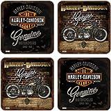 Nostalgic-Art 46008 Harley-Davidson Genuine, Untersetzer-Set, 4-teilig