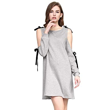 03cc295a3e260b Miss Bec Women Mini Dress Casual Stretchy Relaxed fit Long Sleeve Cold  Shoulder Sweater Dress(