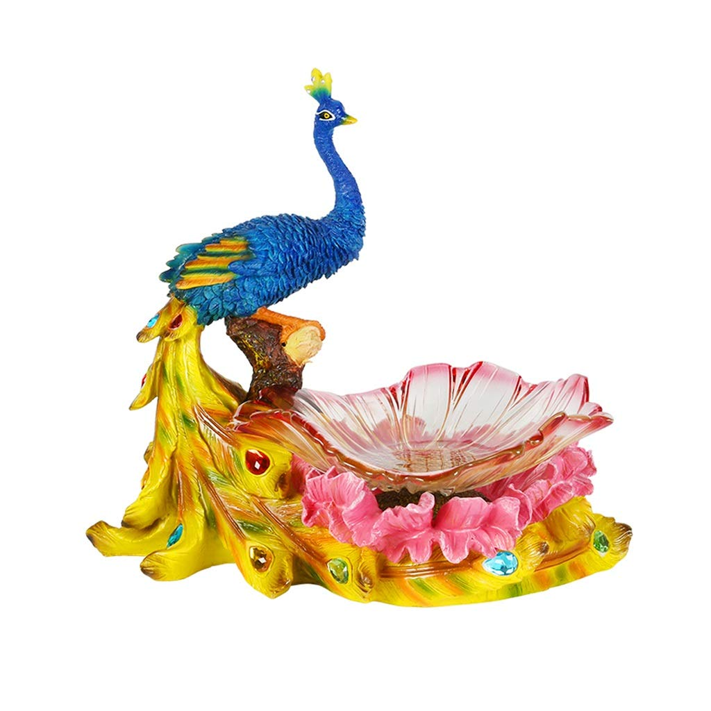 Fruit Bowl Glass Bowl Table Centrepiece Household Creative Glass Fruit Bowl Hand Painted Peacock Fruit Plate Decoration Resin Decorative Ornaments (Color : MULTI, Size : COLORED)