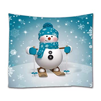 A.Monamour Christmas 3D Skiing Cartoon Snowman Wearing Blue Scarf Hat White Snow Snowflake Backgrounds Print Textile Fabric Wall Tapestry Wall ...